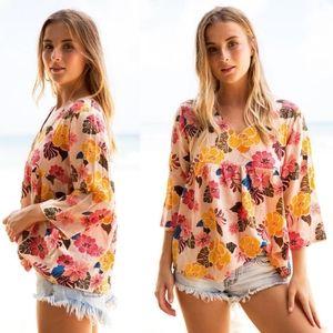 New acacia munich retro paradise blouse top M pink